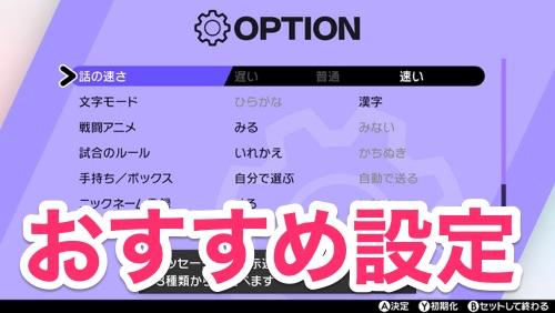 ポケモンソードシールド_おすすめ設定